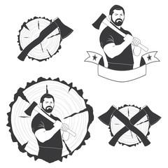 set of stylish logos lumberjack