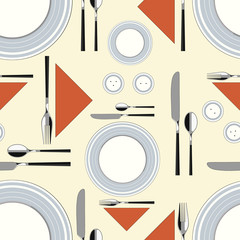 Seamless pattern with served table 2