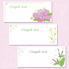 Decorative postcard with wild flower and art elements