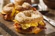 Hearty Breakfast Sandwich on a Bagel - 76509701