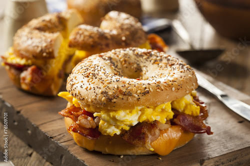 Foto op Canvas Egg Hearty Breakfast Sandwich on a Bagel