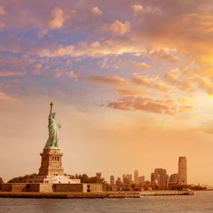 Statue of Liberty New York and Manhattan USA