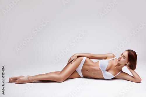 Leinwandbild Motiv beautiful young woman in lingerie