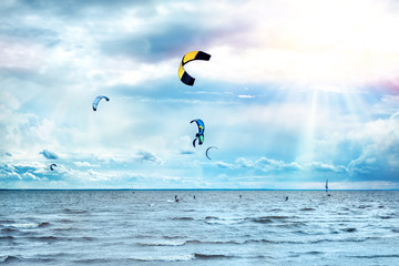 kite surfing on a sunny day