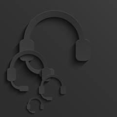 Vector modern headphones light background.