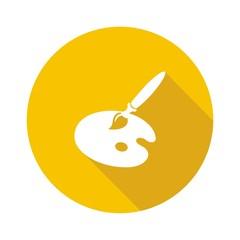 Icono útiles artista amarillo botón sombra