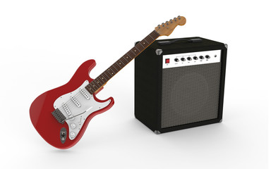 Gitarre rot mit Verstärker