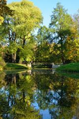 Autumn landscape with bridge in  Pushkin,