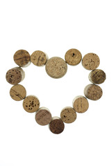 Wine corks form a heart shape image isolated vertical