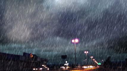 heavy rain over road and light bulbs