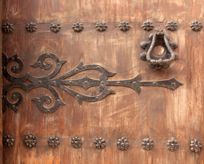 An old door  that has weathered into a remarkable texture.