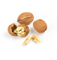 open walnuts closeup on white background