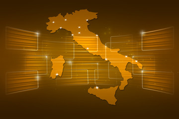 Italy Map World map News Communication yellow gold