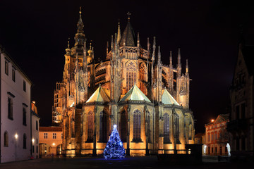 Gothic St. Vitus' Cathedral on Prague Castle in the Night