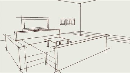 hand drawing interior design
