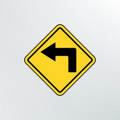 left turn ahead icon.