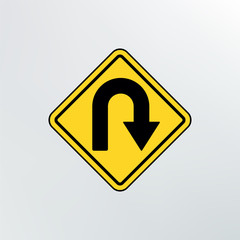 Hairpin curve warning icon.