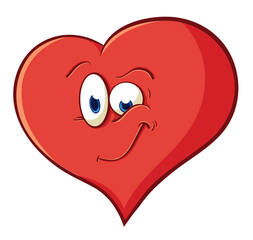 The image of cute cartoon playful heart. Illustration with simpl