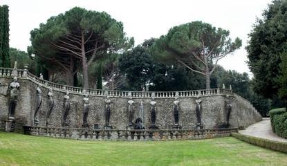 Wall With Muses Pegasus Fountain Villa Lante Italy