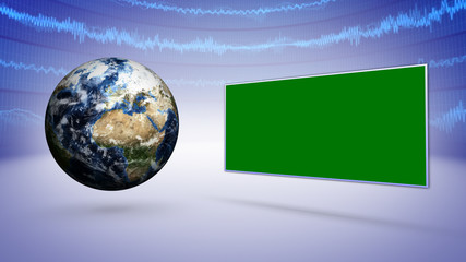 Earth, Green Screen and Business Concept Background