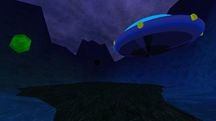 Dark crater with UFO seamless loop 4k UHD video