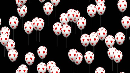 Valentine heart balloons generated seamless loop video alpha