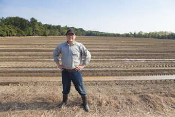 asian Farmer  standing on farming land