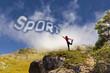 Ragazza con scritta sport con le nuvole