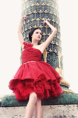 Beautiful woman in red ballerina dress, Paris, France