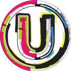 Colorful Grunge Font LETTER U