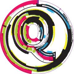 Colorful Grunge Font LETTER Q