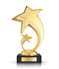 Golden award star isolated on the white background