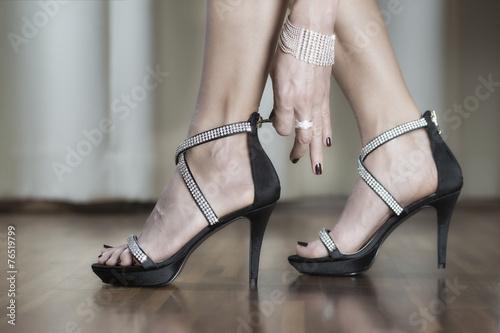Luxury high heels shoes with rhinestone - 76519799