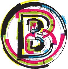 Colorful Grunge Font LETTER B