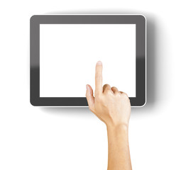 Hand clicking a generic 3d rendered tablet with copyspace