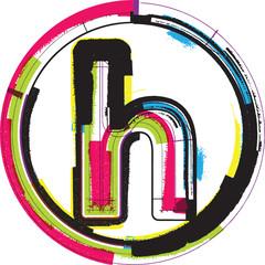 Colorful Grunge Font LETTER h