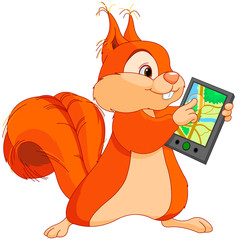 Funny squirrel with navigator