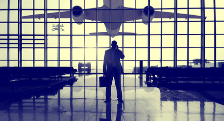 Businessman Airport Terminal Waiting Standing Alone Concept