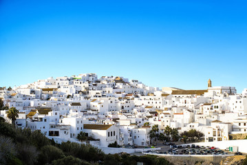 Landscape of a white town, Vejer de la Frontera in Andalusia, Sp