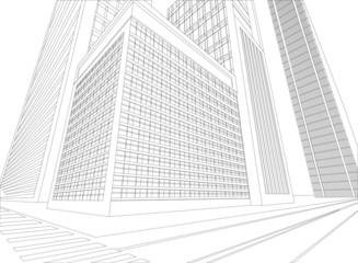 Wireframe urban city on a white background