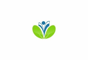 green leaf love people logo icon