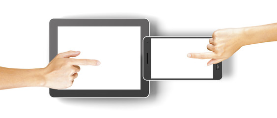 Hands clicking generic 3d rendered tablet and smartphone with