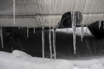 car with icicles