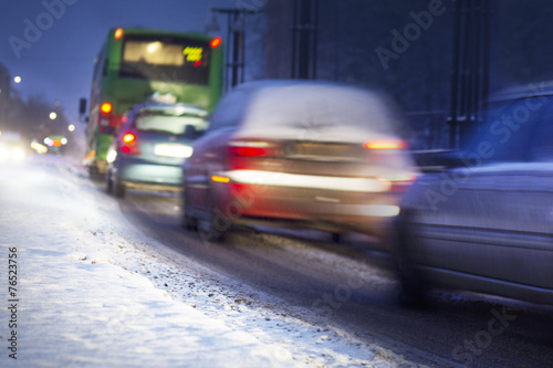 canvas print picture Winter traffic