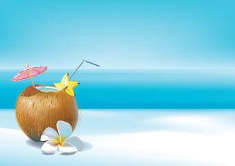 Coconut coctail on beach