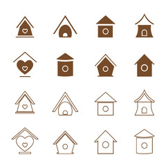 Vector group of bird houses on white background.