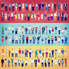 Multiethnic Casual People Togetherness Celebration Arms Raised
