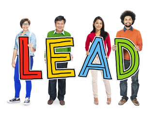Multiethnic Group of People Holding Letter Lead Concept