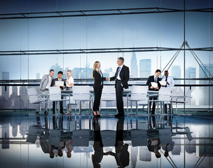 Business People Working Conference Room Agreement Teamwork