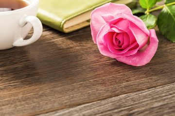 Rose.Empty wooden table.